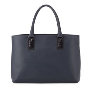 Bottega Veneta Intrecciato-Trim Stamped Tote Bag